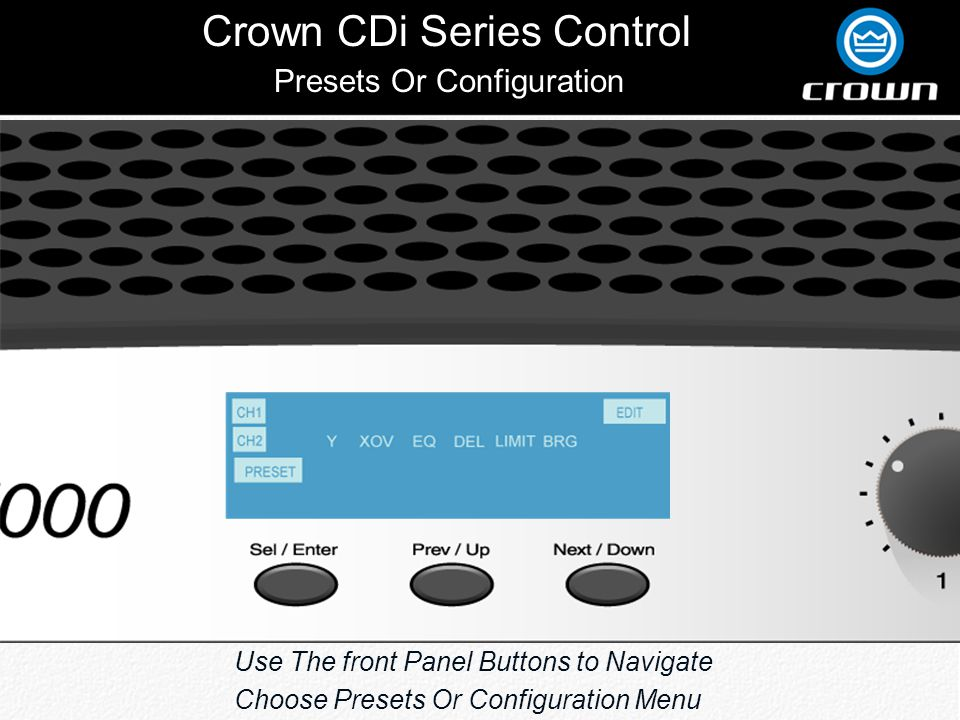 Crown CDi Series Control Press The 3 Control Buttons Simultaneously While the Amplifier Is On And Use The Next and Previous buttons to Scroll Through The Status Screens Channel 1 & 2 Heat Sink Temperature Amplifier Status Screens
