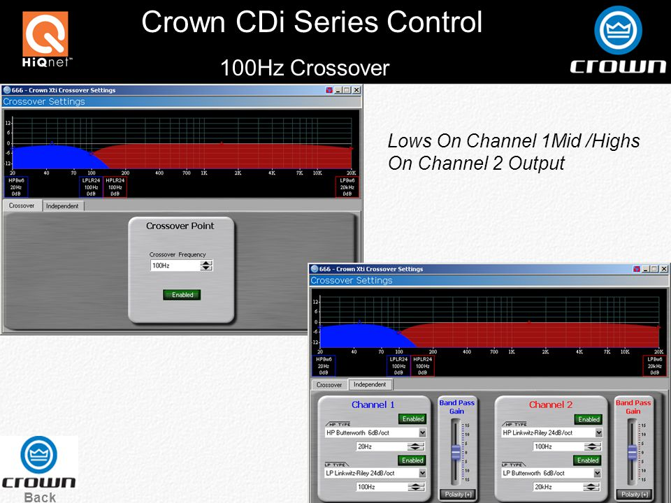 Crown CDi Series Control 100Hz Crossover Back Lows On Channel 1Mid /Highs On Channel 2 Output