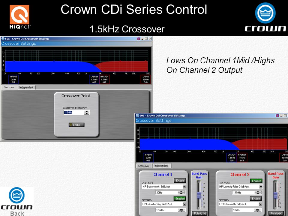 Crown CDi Series Control Back 1.5kHz Crossover Lows On Channel 1Mid /Highs On Channel 2 Output