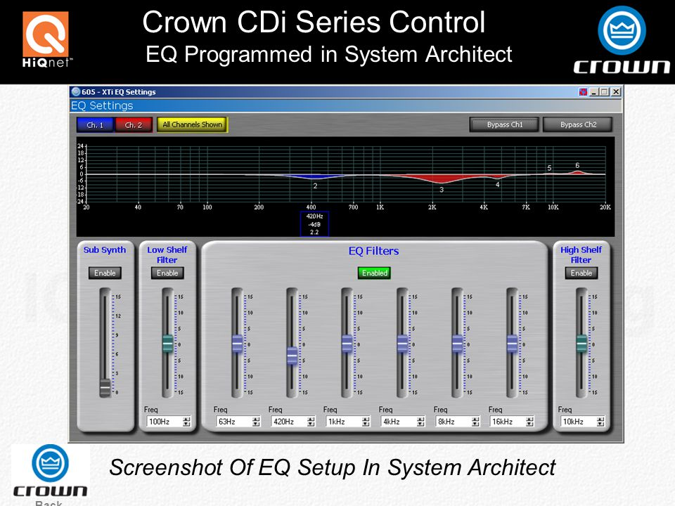 Crown CDi Series Control Screenshot Of EQ Setup In System Architect Back EQ Programmed in System Architect