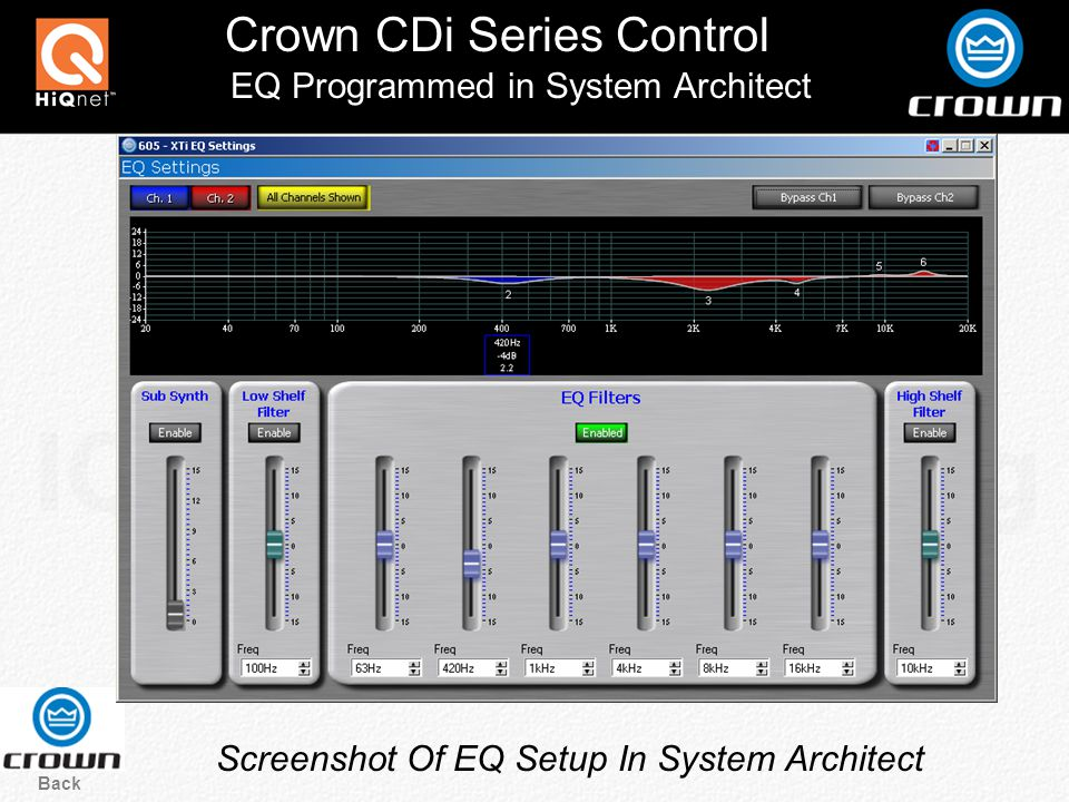 Crown CDi Series Control Back Screenshot Of EQ Setup In System Architect EQ Programmed in System Architect