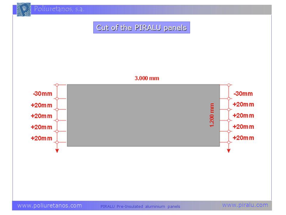 www.piralu.com PIRALU Pre-Insulated aluminium panels www.poliuretanos.com Poliuretanos, s.a. Cut of the PIRALU panels