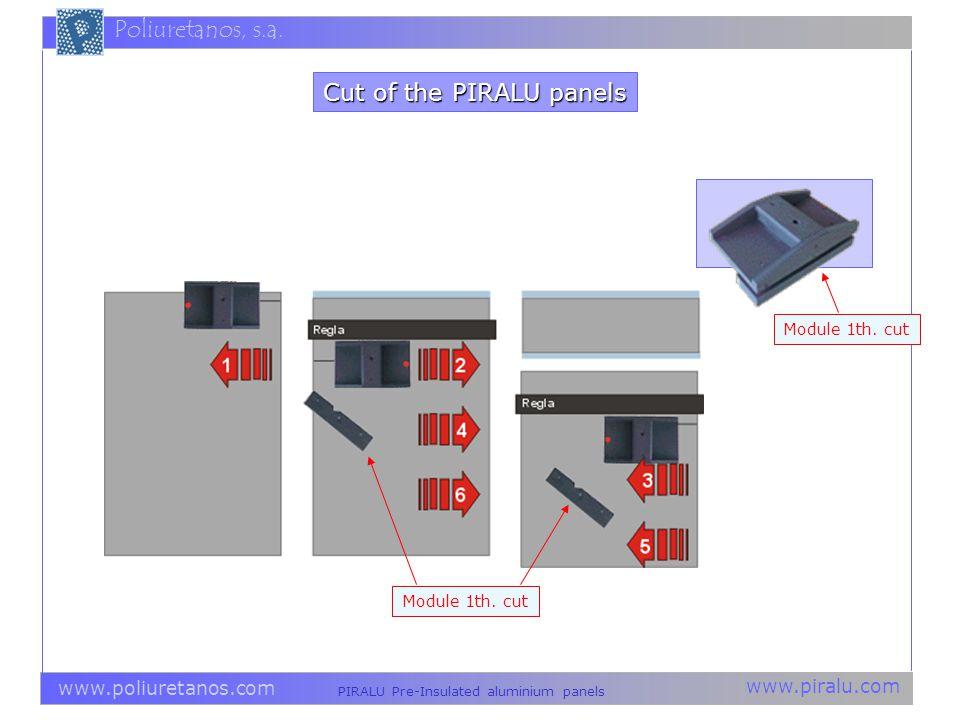 www.piralu.com PIRALU Pre-Insulated aluminium panels www.poliuretanos.com Poliuretanos, s.a. Module 1th. cut Cut of the PIRALU panels