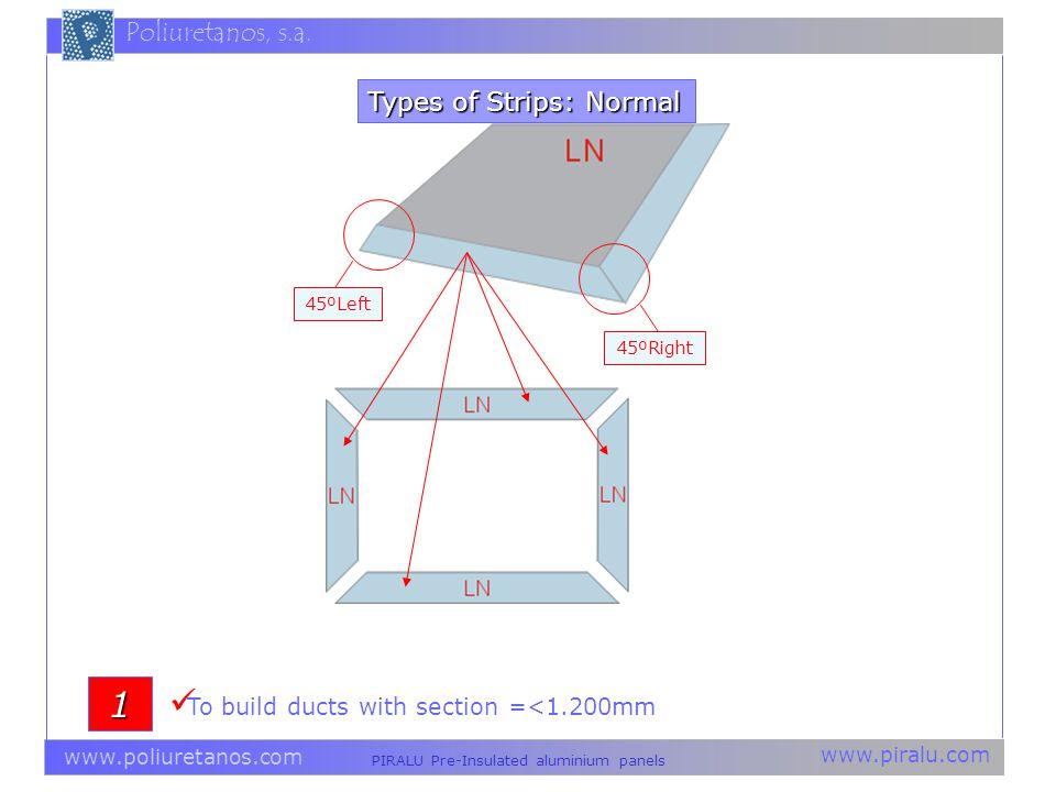 www.piralu.com PIRALU Pre-Insulated aluminium panels www.poliuretanos.com Poliuretanos, s.a. Types of Strips: Normal 45ºLeft 45ºRight 1 To build ducts