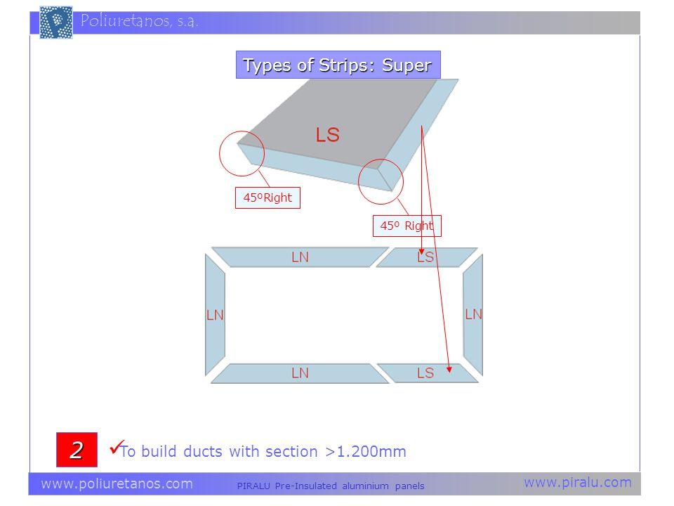 www.piralu.com PIRALU Pre-Insulated aluminium panels www.poliuretanos.com Poliuretanos, s.a. Types of Strips: Super 2 45º Right To build ducts with se