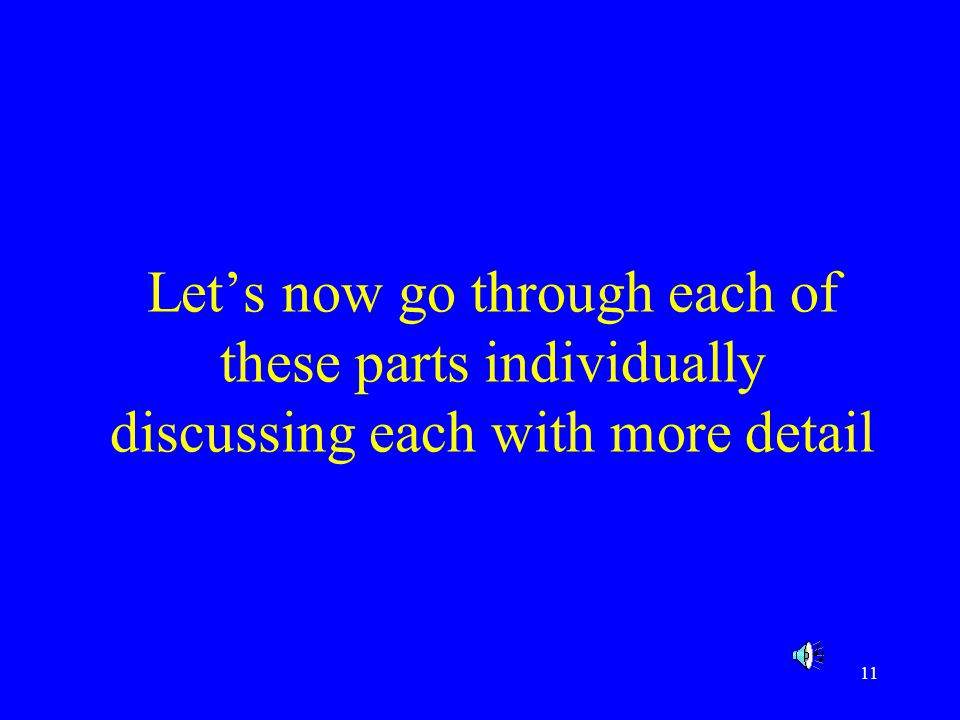 11 Lets now go through each of these parts individually discussing each with more detail