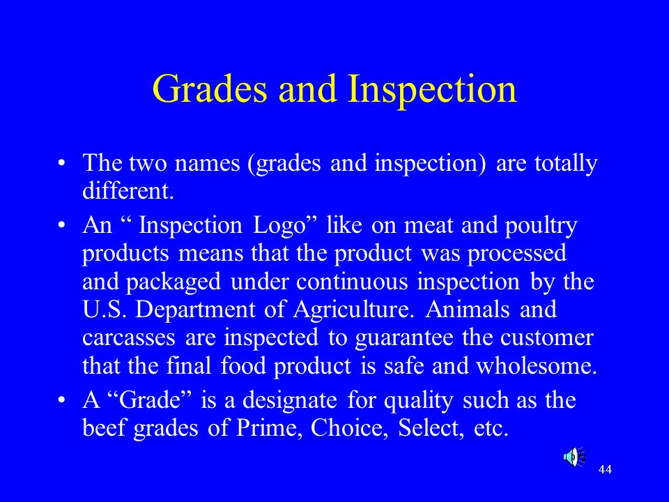 44 Grades and Inspection The two names (grades and inspection) are totally different. An Inspection Logo like on meat and poultry products means that