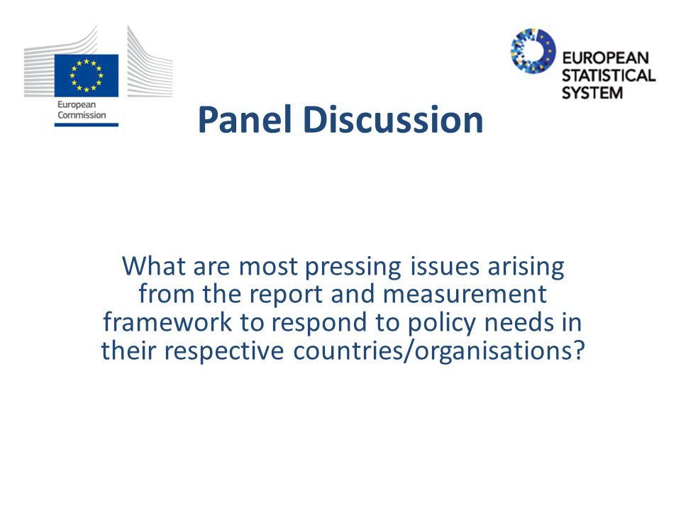 Panel Discussion What are most pressing issues arising from the report and measurement framework to respond to policy needs in their respective countries/organisations