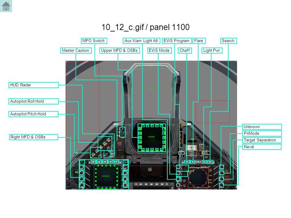 10_12_c.gif / panel 1100 Master Caution MPO Switch Upper MFD & OSBs Aux Warn Light Alt EWS Mode EWS ProgramFlare ChaffLight Pwr Search Autopilot Pitch Hold Autopilot Roll Hold HUD Radar Target Separation Naval PriMode Unknown Right MFD & OSBs