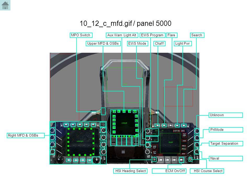 10_12_c_mfd.gif / panel 5000 MPO Switch Upper MFD & OSBs Aux Warn Light Alt EWS Mode EWS ProgramFlare ChaffLight Pwr Search Target Separation HSI Head