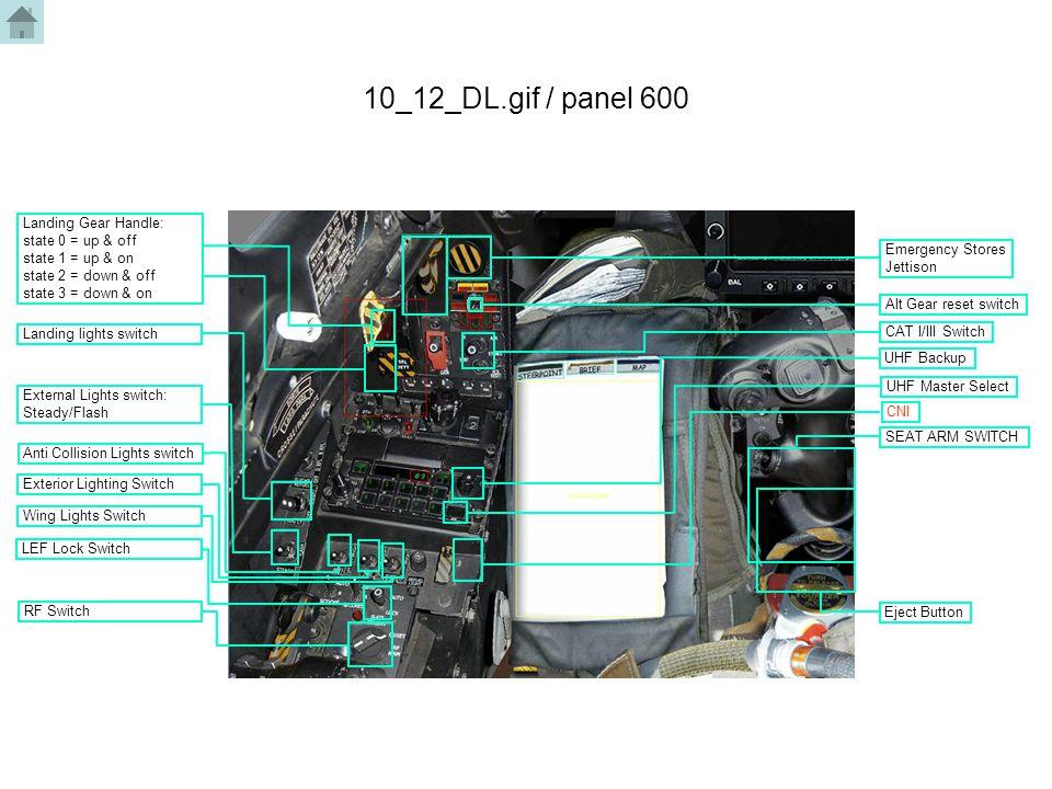 10_12_DL.gif / panel 600 Landing lights switch External Lights switch: Steady/Flash Anti Collision Lights switch Exterior Lighting Switch Wing Lights