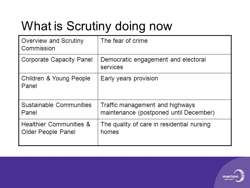What is Scrutiny doing now Overview and Scrutiny Commission The fear of crime Corporate Capacity PanelDemocratic engagement and electoral services Chi