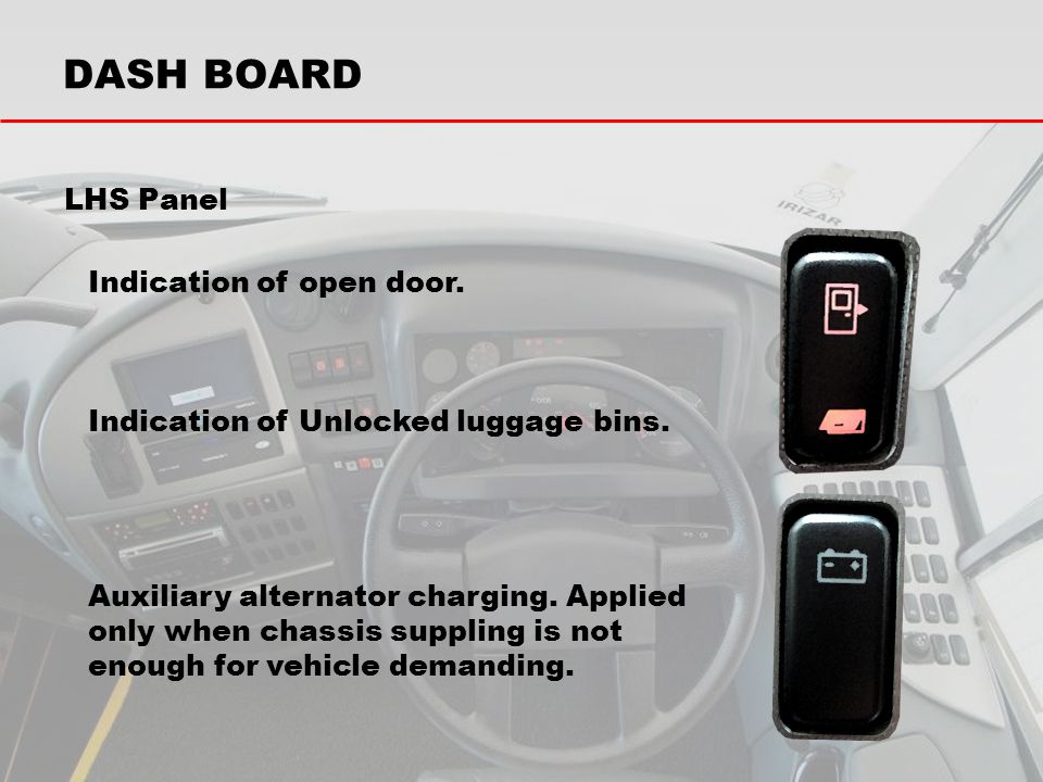 LHS Panel Indication of open door. Indication of Unlocked luggage bins. Auxiliary alternator charging. Applied only when chassis suppling is not enoug