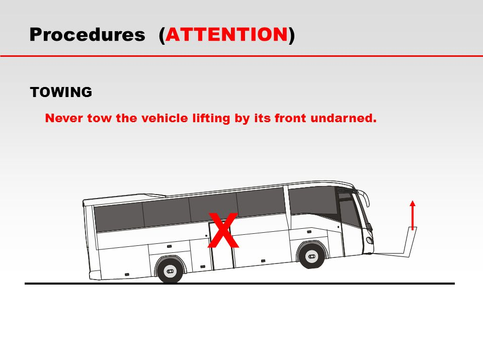 Never tow the vehicle lifting by its front undarned. X Procedures (ATTENTION) TOWING