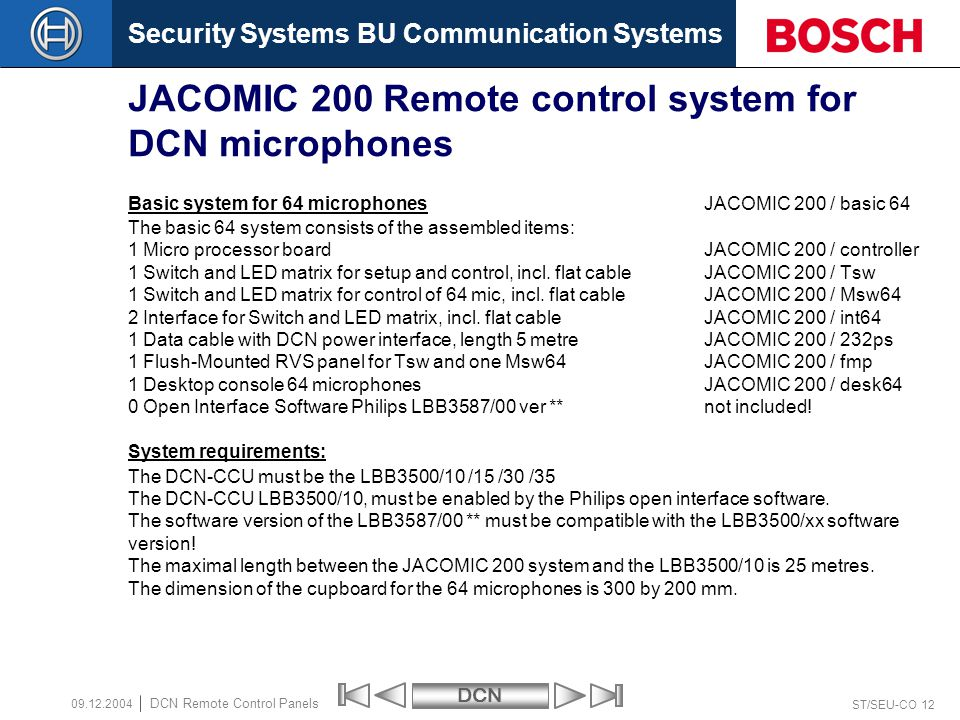 Security Systems BU Communication SystemsDCN ST/SEU-CO 12 DCN Remote Control Panels 09.12.2004 JACOMIC 200 Remote control system for DCN microphones B