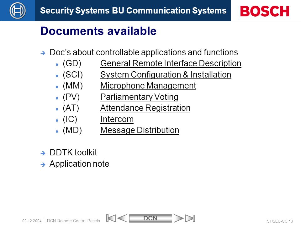 Security Systems BU Communication SystemsDCN ST/SEU-CO 13 DCN Remote Control Panels 09.12.2004 Documents available Docs about controllable application