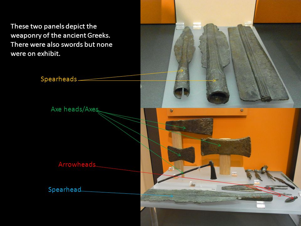 These two panels depict the weaponry of the ancient Greeks.