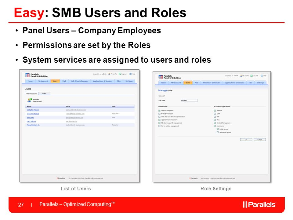 Parallels – Optimized Computing TM 27 Easy: SMB Users and Roles Panel Users – Company Employees Permissions are set by the Roles System services are a