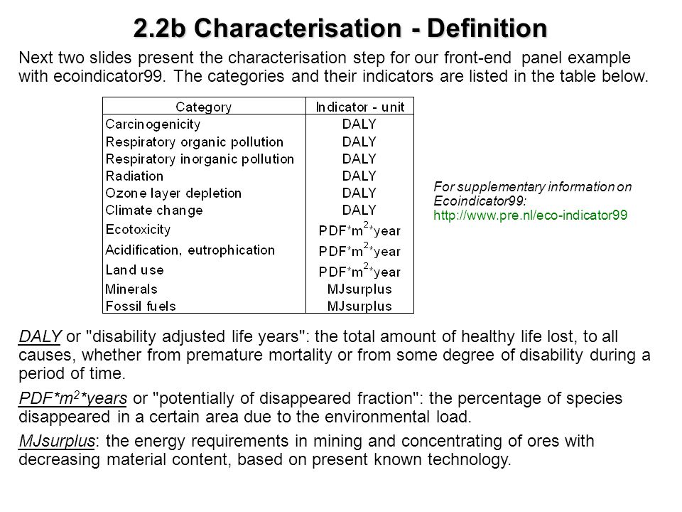 2.2b Characterisation - Definition Next two slides present the characterisation step for our front-end panel example with ecoindicator99. The categori