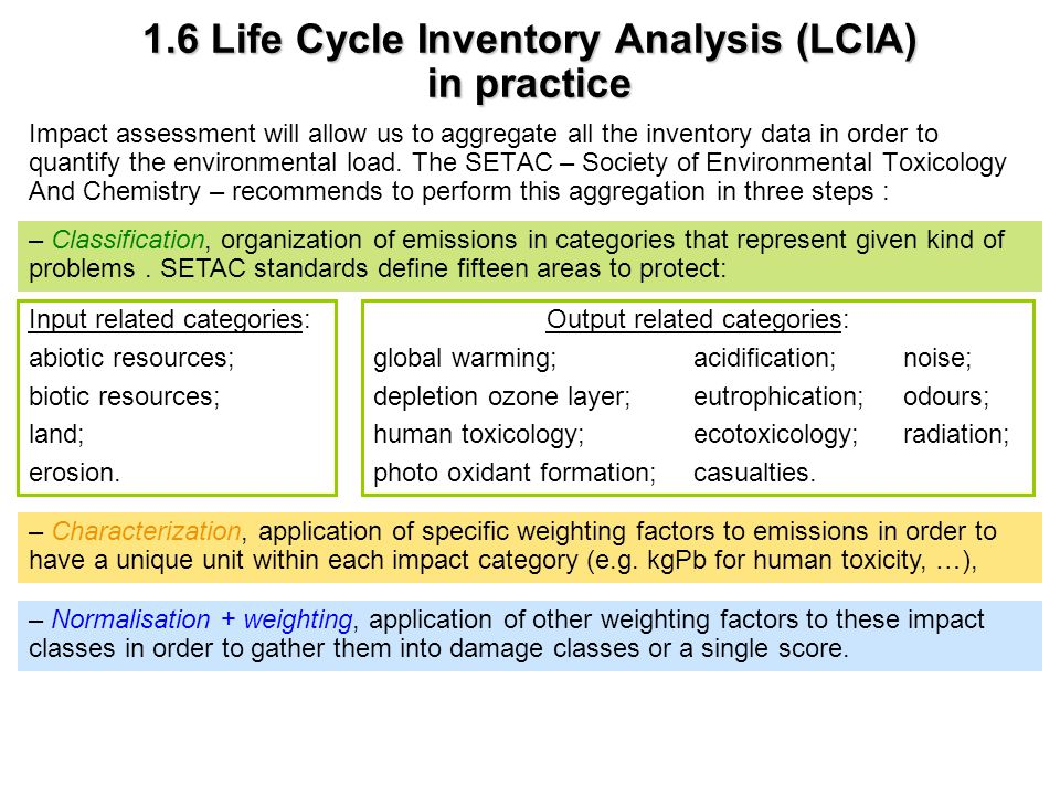 1.6 Life Cycle Inventory Analysis (LCIA) in practice Impact assessment will allow us to aggregate all the inventory data in order to quantify the envi