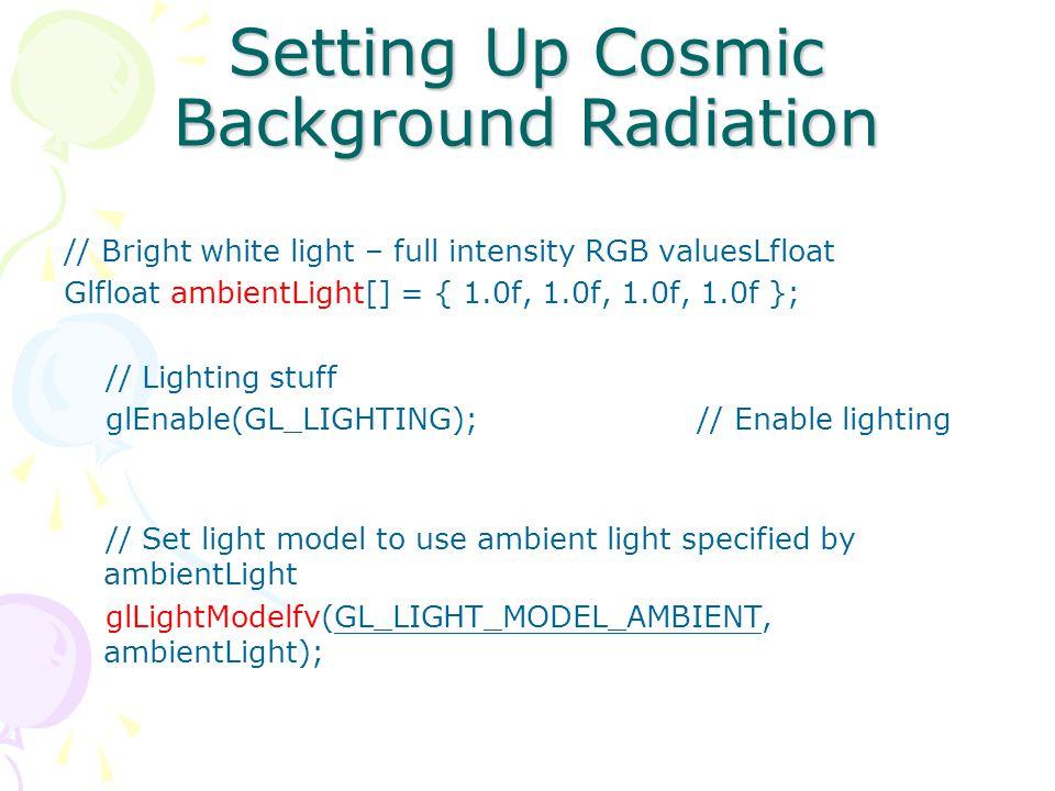Adding Light to a scene Enabling the lighting –glEnable(GL_LIGHTING) An unlit jet reflects no light.
