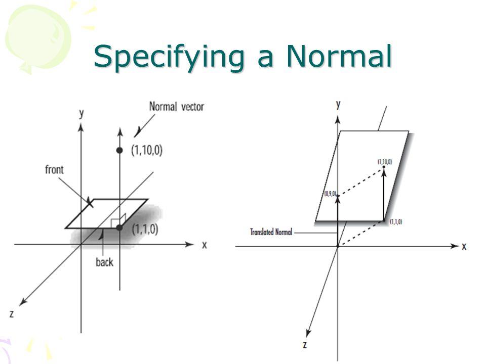 Specifying a normal glBegin(GL_TRIANGLES); glNormal3f(0.0f, -1.0f, 0.0f) glVertex3f(0.0f, 0.0f, 60.0f); glVertex3f(-15.0f, 0.0f, 30.0f); glVertex3f(15.0f,0.0f,30.0f); glEnd();