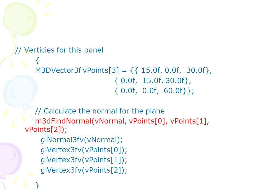 GLfloat lightPos[] = { -50.f, 50.0f, 100.0f, 1.0f }; …… fAspect = (GLfloat) w / (GLfloat) h; gluPerspective(45.0f, fAspect, 1.0f, 225.0f); glMatrixMode(GL_MODELVIEW); glLoadIdentity(); glLightfv(GL_LIGHT0,GL_POSITION,lightPos); glTranslatef(0.0f, 0.0f, -150.0f);