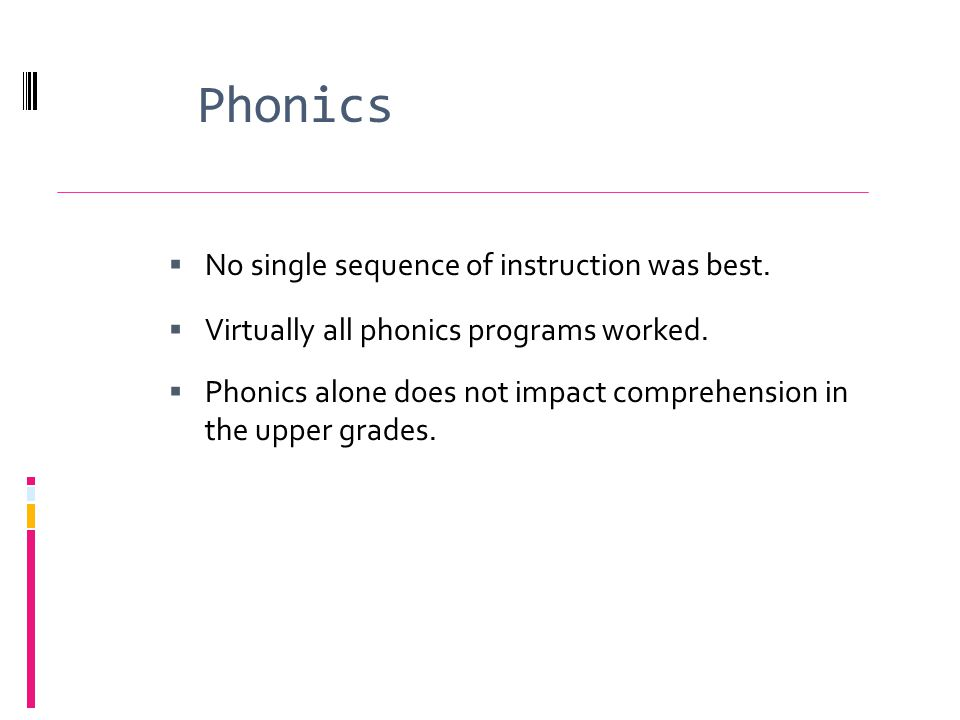 Phonics No single sequence of instruction was best.