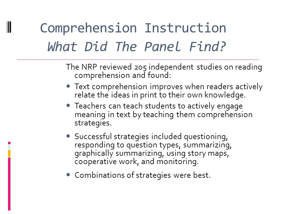 Comprehension Instruction What Did The Panel Find.