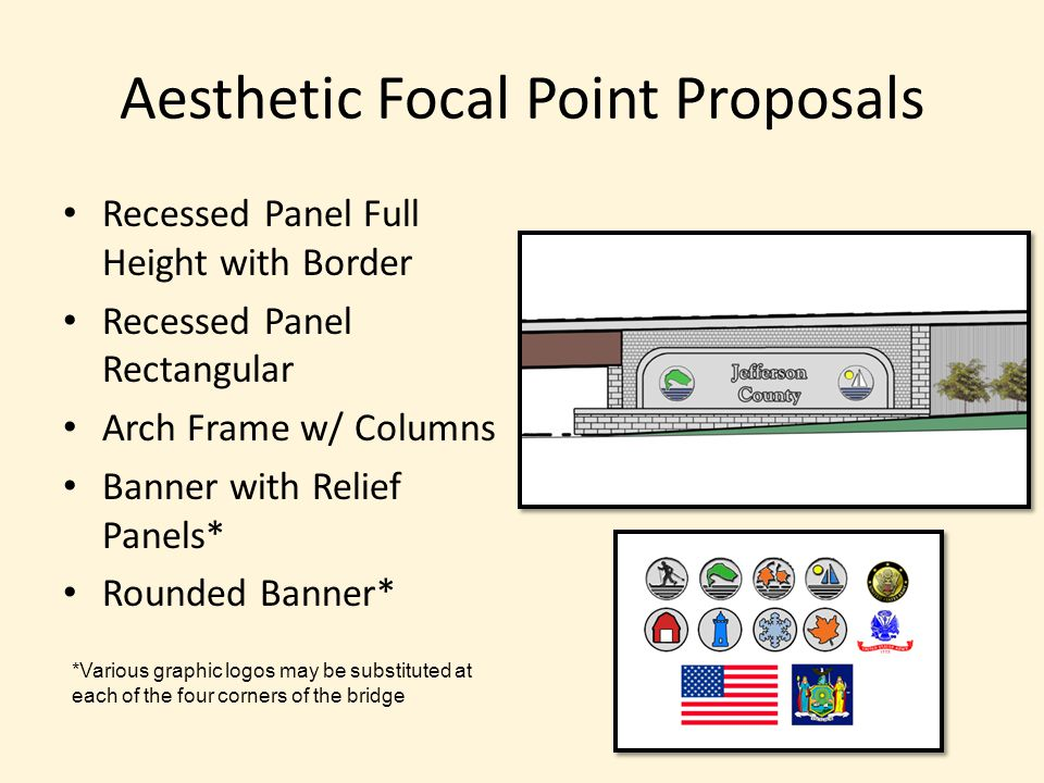 Aesthetic Focal Point Proposals Recessed Panel Full Height with Border Recessed Panel Rectangular Arch Frame w/ Columns Banner with Relief Panels* Rou
