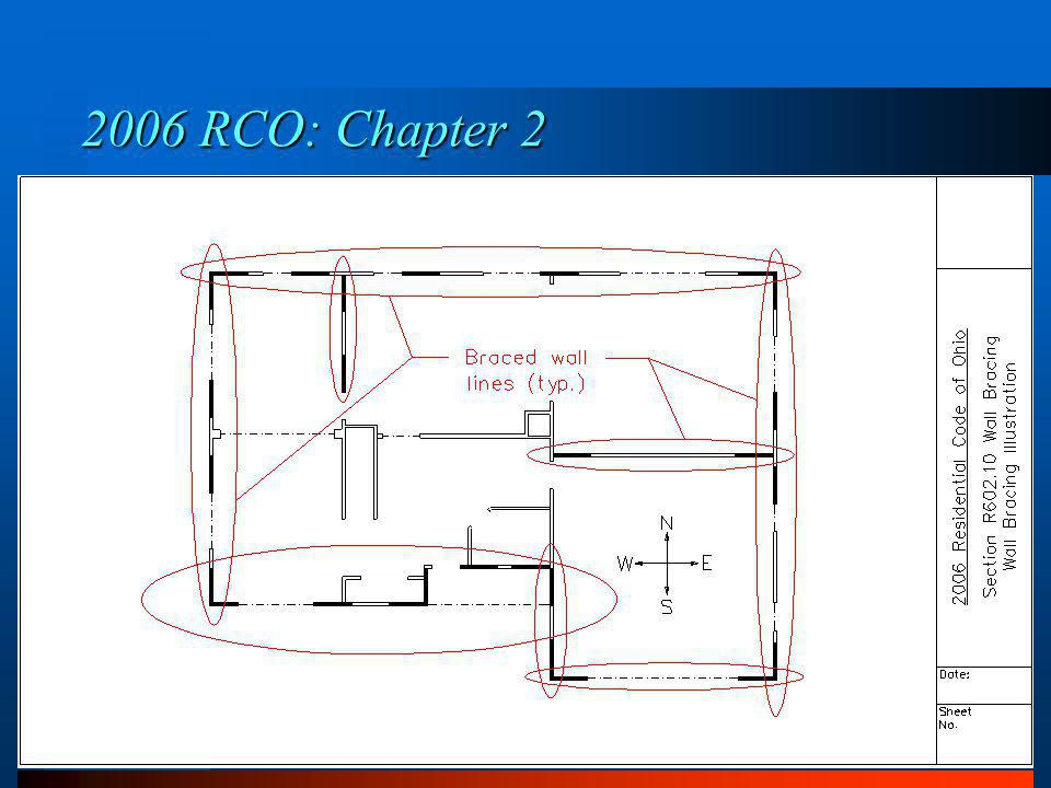 Section R602.10.1 Braced Wall Lines 2006 RCO: Chapter 6 1.Braced wall lines shall consist of braced wall panels.