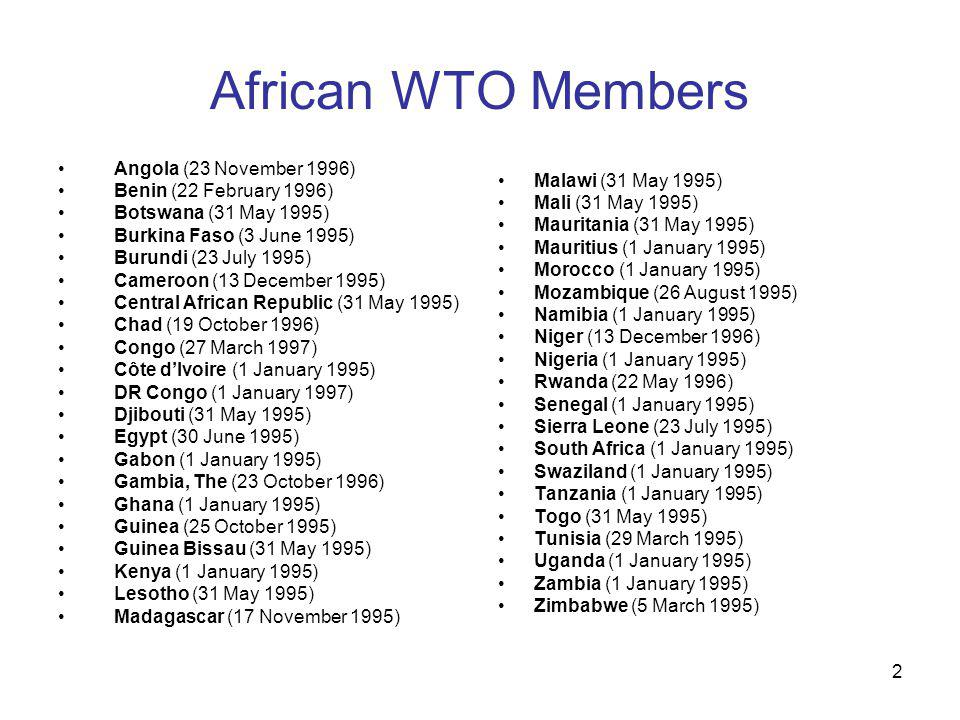 2 African WTO Members Angola (23 November 1996) Benin (22 February 1996) Botswana (31 May 1995) Burkina Faso (3 June 1995) Burundi (23 July 1995) Cameroon (13 December 1995) Central African Republic (31 May 1995) Chad (19 October 1996) Congo (27 March 1997) Côte dIvoire (1 January 1995) DR Congo (1 January 1997) Djibouti (31 May 1995) Egypt (30 June 1995) Gabon (1 January 1995) Gambia, The (23 October 1996) Ghana (1 January 1995) Guinea (25 October 1995) Guinea Bissau (31 May 1995) Kenya (1 January 1995) Lesotho (31 May 1995) Madagascar (17 November 1995) Malawi (31 May 1995) Mali (31 May 1995) Mauritania (31 May 1995) Mauritius (1 January 1995) Morocco (1 January 1995) Mozambique (26 August 1995) Namibia (1 January 1995) Niger (13 December 1996) Nigeria (1 January 1995) Rwanda (22 May 1996) Senegal (1 January 1995) Sierra Leone (23 July 1995) South Africa (1 January 1995) Swaziland (1 January 1995) Tanzania (1 January 1995) Togo (31 May 1995) Tunisia (29 March 1995) Uganda (1 January 1995) Zambia (1 January 1995) Zimbabwe (5 March 1995)