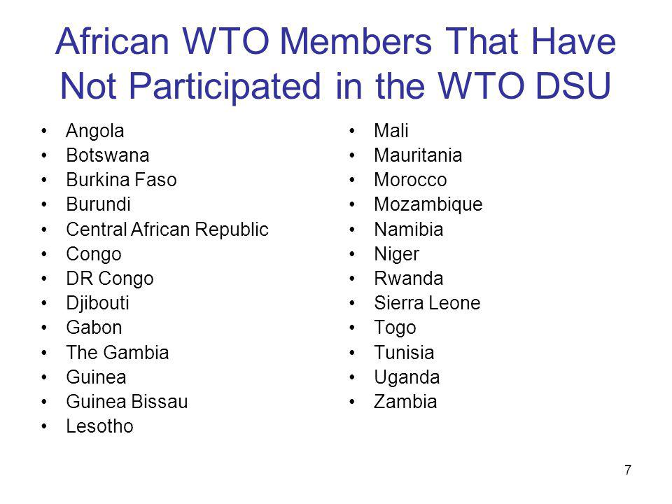 7 African WTO Members That Have Not Participated in the WTO DSU Angola Botswana Burkina Faso Burundi Central African Republic Congo DR Congo Djibouti