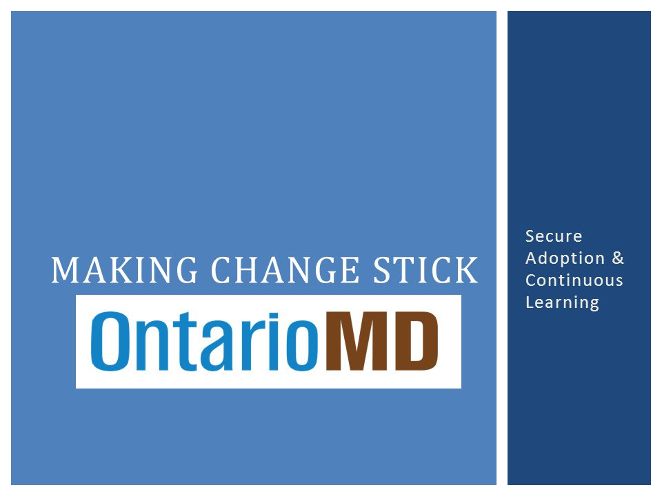 Secure Adoption & Continuous Learning MAKING CHANGE STICK