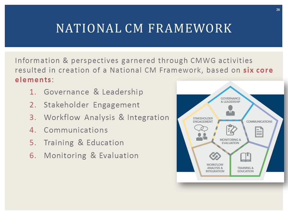 NATIONAL CM FRAMEWORK Information & perspectives garnered through CMWG activities resulted in creation of a National CM Framework, based on six core e