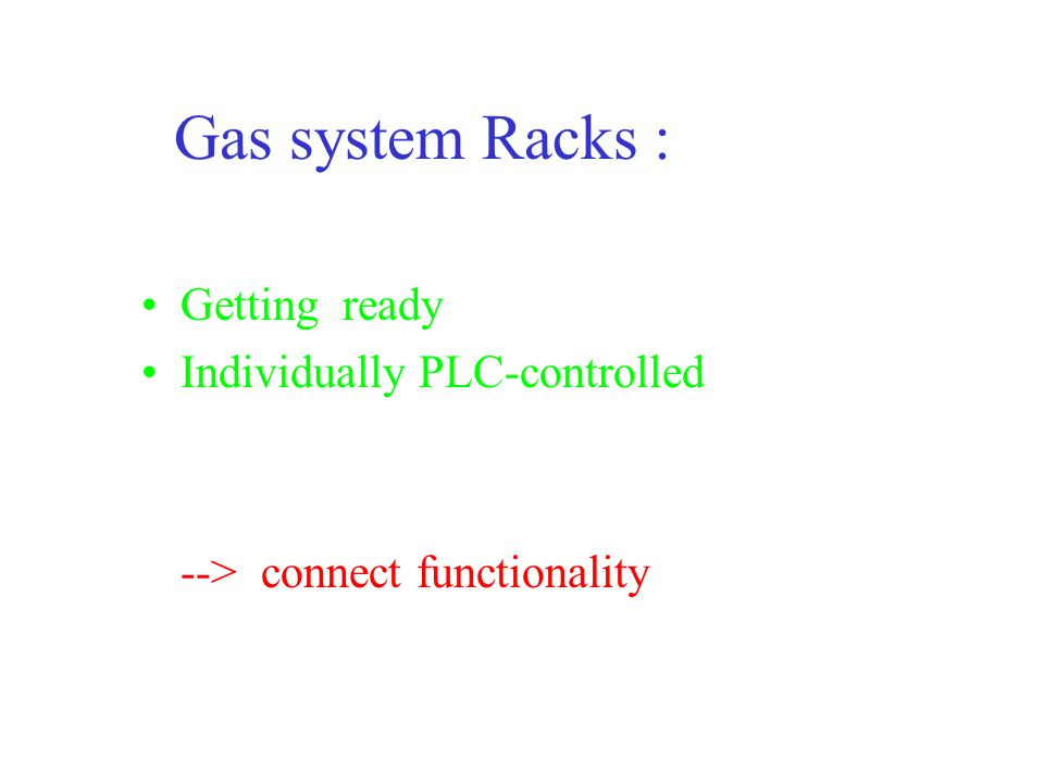 Summary : TPC Gas System Hardware ready --> end 2002 Local Control--> end 2002 PVSS controlled--> mid 2003 PVSS - DCS--> end 2003 Goofie--> ???