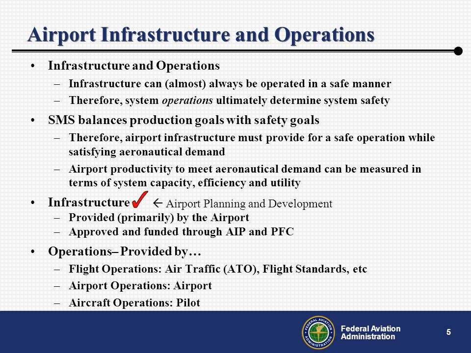 5 Federal Aviation Administration Airport Infrastructure and Operations Infrastructure and Operations –Infrastructure can (almost) always be operated