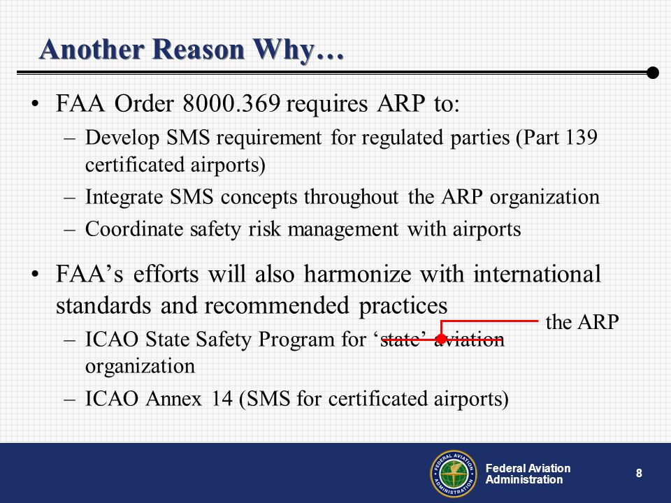 9 Federal Aviation Administration SMS Components Safety Policy –Commitment to continually improve safety –Defines methods, processes and organizational structure Safety Risk Management –Safety-related decisions –Assesses hazards, risks and controls Safety Assurance –Evaluates safety performance Safety Promotion –Promotes safety culture Feedback http://onlinepubs.trb.org/onlinepubs/acrp/acrp_rpt_001a.pdf