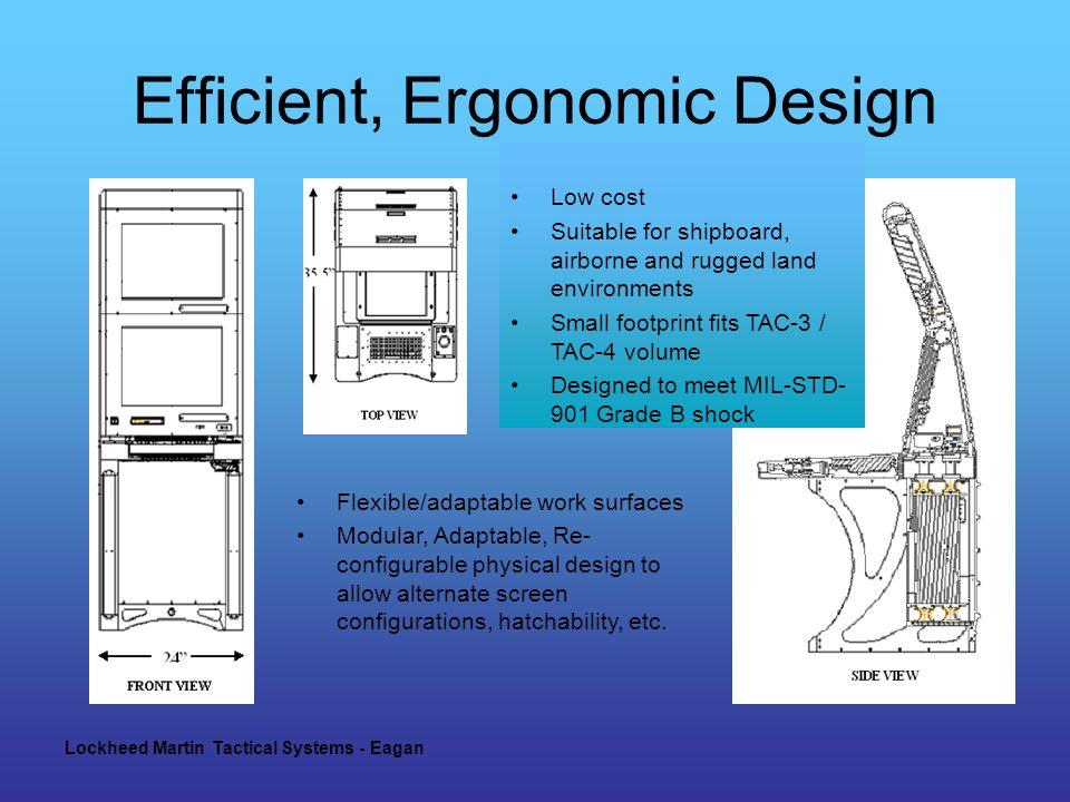 Lockheed Martin Tactical Systems - Eagan Efficient, Ergonomic Design Flexible/adaptable work surfaces Modular, Adaptable, Re- configurable physical design to allow alternate screen configurations, hatchability, etc.