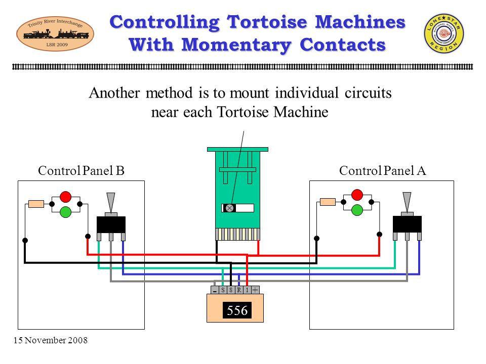 15 November 2008 Tortoise Controlling Tortoise Machines With Momentary Contacts Lets look at a general setup using a master panel. Tortoise MasterSlav