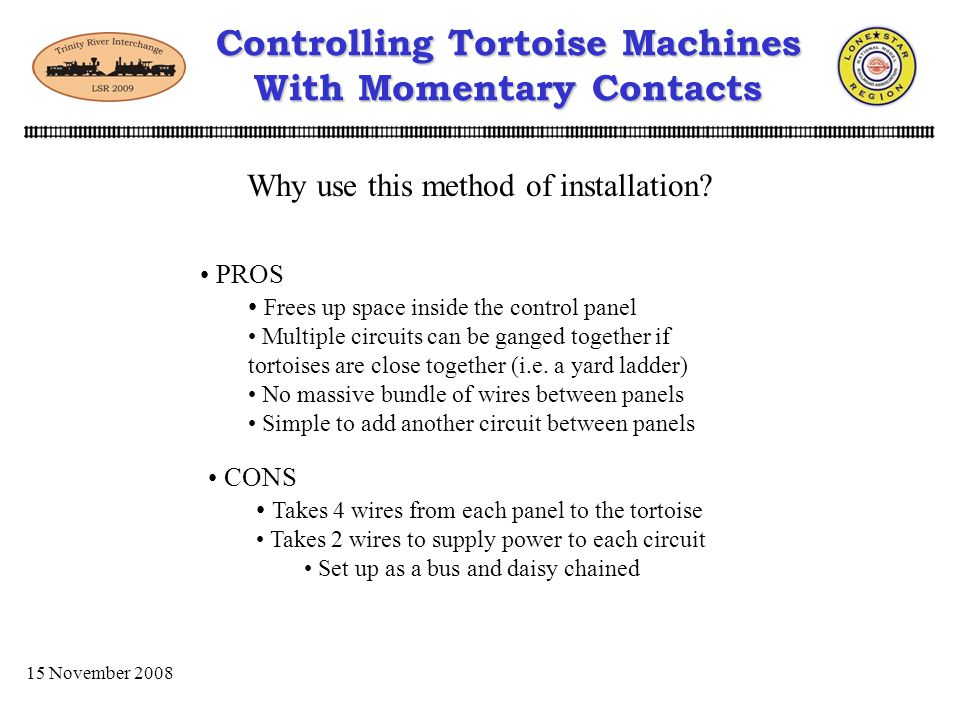 15 November 2008 Control Panel BControl Panel A Controlling Tortoise Machines With Momentary Contacts Another method is to mount individual circuits near each Tortoise Machine 556 - S8R1 +
