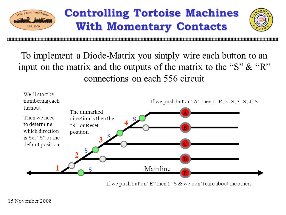 15 November 2008 Controlling Tortoise Machines With Momentary Contacts Now lets take this a step further and implement a Diode-Matrix to control sever