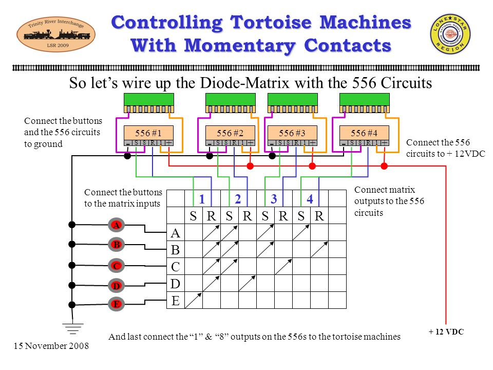 15 November 2008 Controlling Tortoise Machines With Momentary Contacts Lets take a few minutes and set up our Diode-Matrix A B C D E 1 2 3 4 S S S S R
