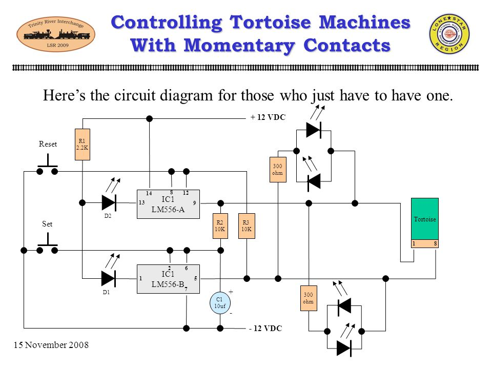 15 November 2008 Controlling Tortoise Machines With Momentary Contacts Where you can control the Tortoise with MOMENTARY devices 556 - S8R1 + Momentar