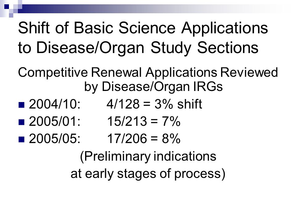 Shift of Basic Science Applications to Disease/Organ Study Sections Competitive Renewal Applications Reviewed by Disease/Organ IRGs 2004/10:4/128 = 3% shift 2005/01:15/213 = 7% 2005/05:17/206 = 8% (Preliminary indications at early stages of process)