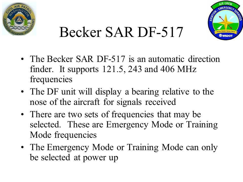 Operation (1)ON/OFF (2) PAGE (3) MODE Indication of the actual operation mode (4) ARU Version Software version and serial number of antenna-receiver Unit (5) CDU Version Software version and serial number of control-display Unit Power-On and operation modes emergency or training