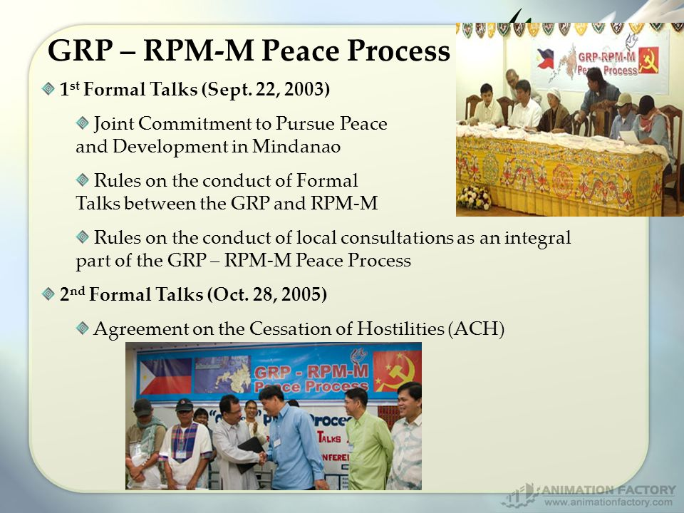 GRP – RPM-M Peace Process 1 st Formal Talks (Sept.
