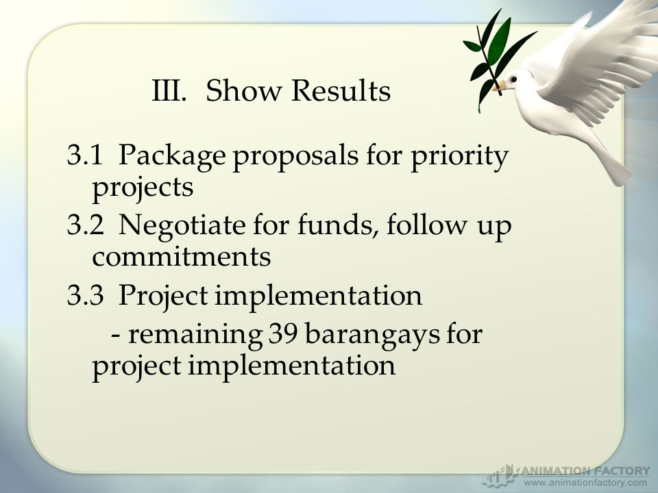 III. Show Results 3.1 Package proposals for priority projects 3.2 Negotiate for funds, follow up commitments 3.3 Project implementation - remaining 39