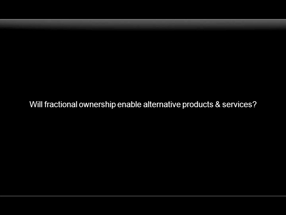 Will fractional ownership enable alternative products & services