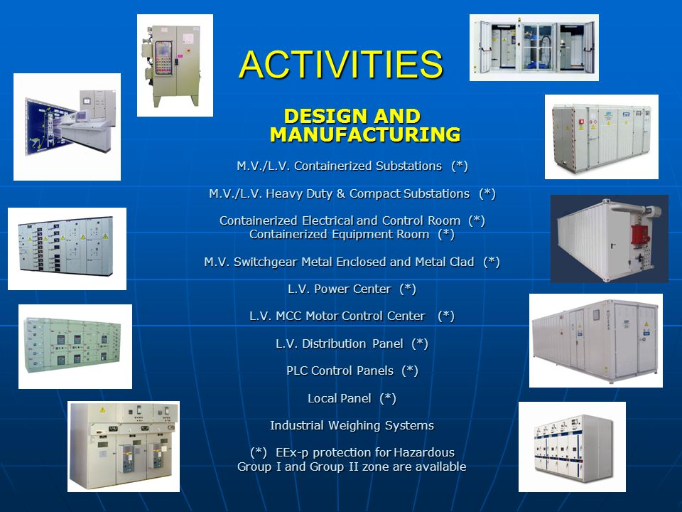 ACTIVITIES DESIGN AND MANUFACTURING M.V./L.V. Containerized Substations (*) M.V./L.V. Heavy Duty & Compact Substations (*) Containerized Electrical an
